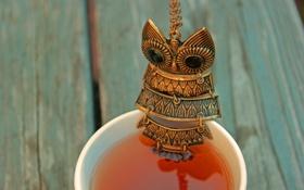 Картинка сова, чай, кружка, чашка, кулон, украшение, напиток