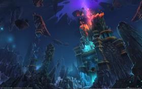 Картинка взрыв, камни, скалы, магия, здание, пещера, world of warcraft