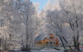 Обои зима, снег, иний, домик