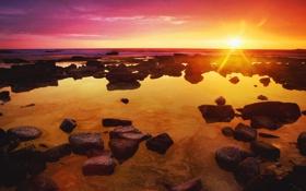 Картинка море, небо, солнце, лучи, свет, закат, камни