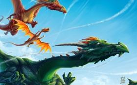 Картинка полет, драконы, арт, в небе, Vladimir Gulevski