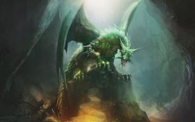 Картинка взгляд, фантастика, крылья, арт, пасть, когти, зеленый дракон