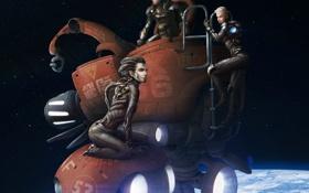 Обои космос, девушки, планета, робот, спутник, арт, орбита