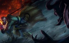 Обои монстр, бой, воин, монах, diablo 3, нечисть, monk