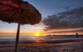 Обои песок, море, пляж, закат