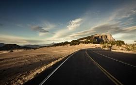 Картинка дорога, поле, небо, пейзаж