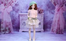 Обои шапка, игрушка, юбка, кукла, стоит, свитер