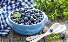 Обои черника, миска, листики, leaves, салфетка, ложки, blueberries