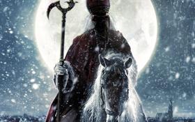 Обои снег, луна, Дед отмороз