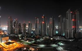 Картинка ночь, огни, стройка, здания, Дубаи