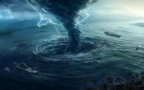 Обои desktopography, вихрь, рендер, cataclysm, корабли, шторм, молнии