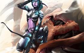 Картинка оружие, кровь, доспехи, World of Warcraft, эльфийка, зерг, ghost