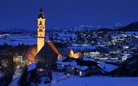 Обои снег, вечер, колокольня