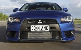 Обои фары, Mitsubishi, Lancer, blue, передок, лансер, Evolution X