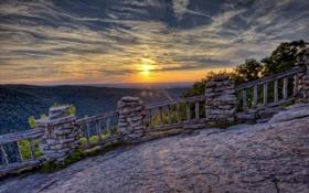 Обои закат, панорама, площадка, West Virginia, Coopers Rock State Forest