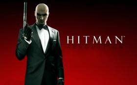 Картинка пистолет, оружие, лысый, глушитель, DLC, Агент 47, Hitman Absolution