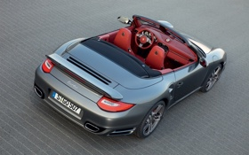 Картинка асфальт, turbo, кабриолет, салон, Porsche 911