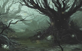 Обои лес, дерево, грибы, чаща, фэнтези, арт