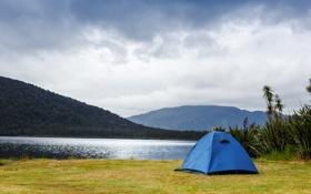 Обои трава, облака, озеро, палатка