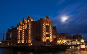 Обои небо, ночь, луна, здание, Германия, освещение, музей