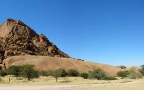 Обои Небо, Песок, Фото, Скалы, Деревья, Гора, Пустыня