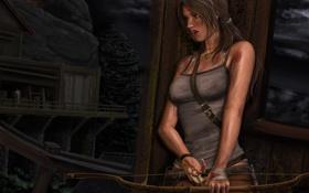 Обои укрытие, лук, арт, стрела, прячется, Lara Croft, Tomb raider