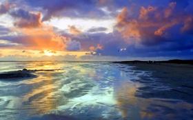 Картинка песок, небо, цвета, пейзаж, закат, природа, фото