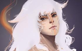 Обои девушка, лицо, волосы, символы, белоснежные
