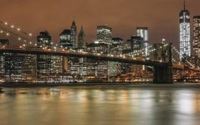 Картинка ночь, мост, город, огни, вид, здания, дома