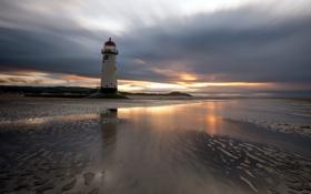 Картинка sunset, lighthouse, reflections, Talacre