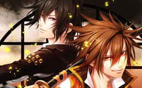 Картинка меч, искры, двое, мужчины, Kazuya, Chitose, Toki no Kizuna