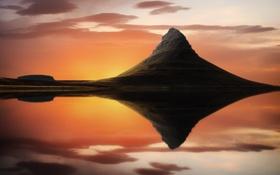 Обои природа, гора, отражение, озеро, расвет