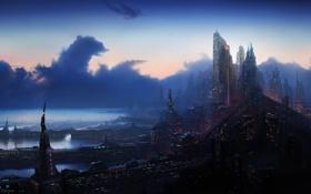 Картинка город, небоскребы, фантастический