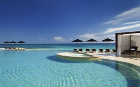 Картинка пляж, океан, отдых, вид, бассейн, горизонт, relax