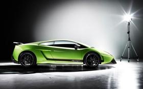 Обои Lamborghini-Gallardo, ангар, зеленая, прожектор