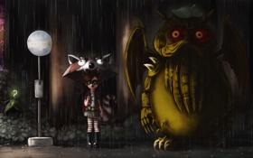 Обои дождь, крылья, существо, зонт, арт, девочка