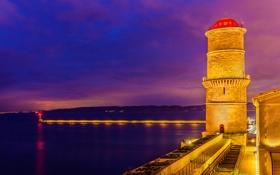 Обои море, ночь, огни, побережье, Франция, маяк, освещение