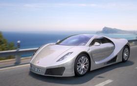 Обои дорога, море, car, скорость, concept, mclaren