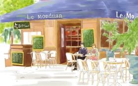 Обои пара, кафе, anime