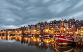 Обои город, Франция, пристань, дома, корабли, Basse-Normandie, Honfleur