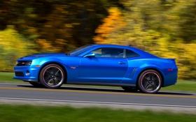 Обои Авто, Синий, Chevrolet, Колеса, Шевроле, Camaro, Вид сбоку