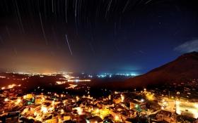 Картинка город, звезды, небо, ночь, огни, съемка