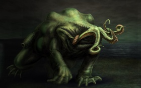 Обои green, creatures, tentacles, quadruped