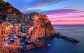 Обои Manarola, Чинкве-Терре, Liguria, Лигурия, рассвет, Italia, Манарола