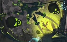 Картинка оружие, девушки, череп, аниме, арт, рога, коса