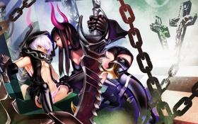 Картинка оружие, девушки, меч, арт, цепи, black rock shooter, strength