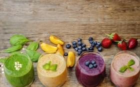 Картинка ягоды, черника, коктейль, фрукты, банан, fresh, fruit