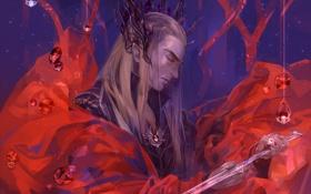 Обои красный, эльф, меч, властелин колец, арт, перстень, the lord of the rings