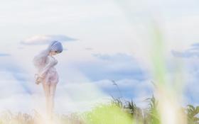 Картинка небо, трава, ветер, игрушка, кукла, блондинка