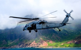 Обои полет, вертолёт, военно-транспортный, Seahawk, MH-60S